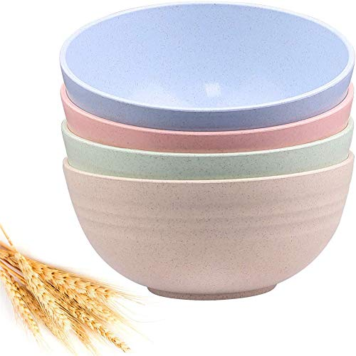 24 OZ 6 Inch Wheat Straw Plastic Bowls (Set of 4 Bowls) -...