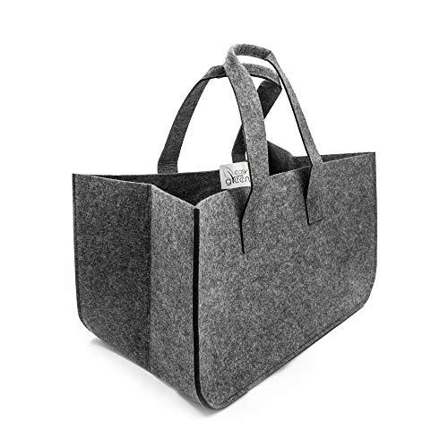Bolsa de fieltro para leña, de easy and Green, para madera, periódicos y juguetes, bolsa de la compra, cesta de fieltro con asa, color gris oscuro