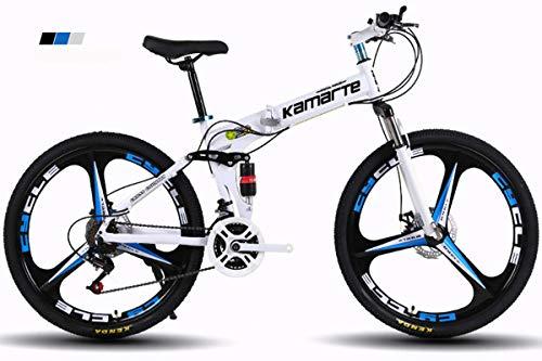 KTM Bicicleta de montaña Bicicleta Plegable Rueda de 24-26 Pulgadas, Tres Opciones de Cambio (21-24-27), neumático Especial Todoterreno,White,24