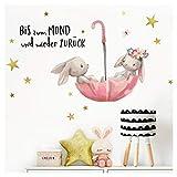 Little Deco Wandtattoo Babyzimmer Hasen & Spruch Bis zum Mond I 81 x 43 cm (BxH) I Regenschirm Kinderbilder Deko Kinderzimmer Mädchen Aufkleber Sticker DL207-1