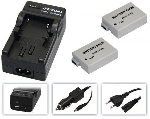4-in - 1-SET per la Canon EOS 700D --- 2 x Batteria per canone LP-E8(950 mAh) + 4-in-1 caricabatterie (per pianoforte tra cui USB/Micro-USB e da auto/auto) con PATONA Displaypad