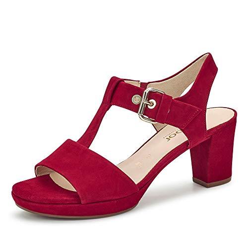 Gabor Comfort 42.394-48 Comfort Damen Sandalette aus Veloursleder mit 45-mm-Blockabsatz, Groesse 41 1/2, rot