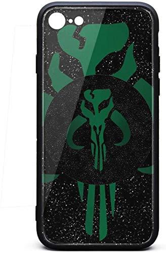Funda clásica para iPhone 8/iPhone 7 Mandalorian-Skull-Symbol-Design- Unisex Moda Vidrio Templado Negro Anti-Arañazos TPU Goma Bumper Cover Back Cover