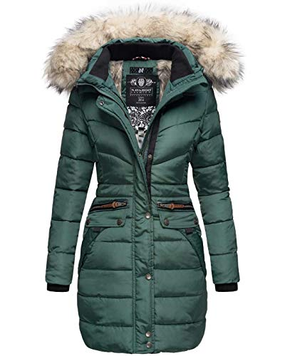 Navahoo Damen Winter Jacke Mantel Parka warm gefütterte Winterjacke B383 [B383-Paula-Grün-Gr.XS]