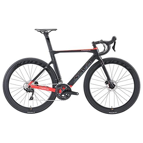 SAVADECK Bicicleta de Carreras de Carbono con Disco, 700C Bicicleta de Carreras de Carbono Completo con Grupo Shimano Ultegra R8020/R8000 22S y Sistema de Freno de Disco hidráulico (Negro-Rojo, 51cm)