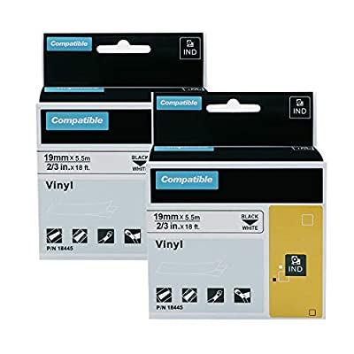 """2-Pack Compatible Industrial Label Tapes Replacement for DYMO 18445 Permanent Vinyl 3/4"""" Tapes for DYMO Rhino 4200, 5000, 5200, 6000 Industrial Label Maker, Black on White, 3/4 Inch x 18 Feet"""