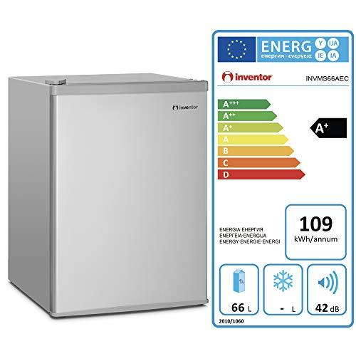 41Lgd kSmVL - Inventor Mini Nevera A+ con Compresor, 66 litros de Capacidad, Color Plata, Silenciosa e ideal para hoteles, estudiantes, dormitorios y pequeños hogares