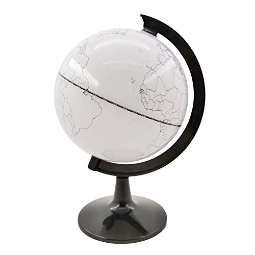 Syfinee World Globe Model Paintable and Erasable Globe Model Plastic Erasing World Map Drawing Tellurian DIY Teaching Implement with 4 Brush for Home Office