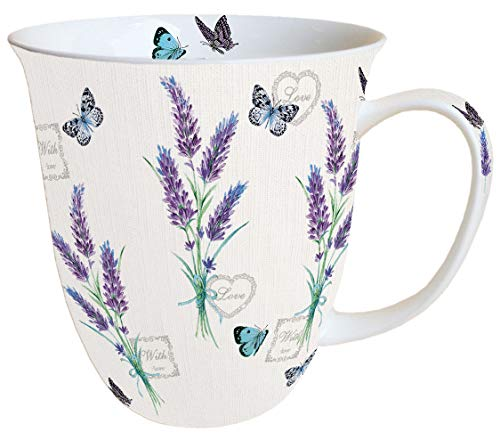 Ambiente Becher Mug Tasse Tee/Kaffee Becher ca. 0,4L Floral Lavender with Love Cream