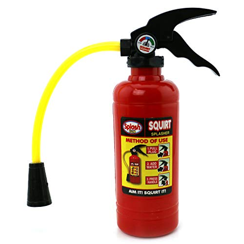 Splash Fun Fire Extinguisher Water Gun Squirter Pump for Kids Fire Fighter Toy with Aim Control Nozzle with 2 Gosutoys Stickers