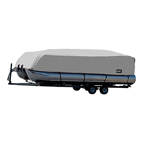 MSC Trailerable Pontoon Boat Cover 300D UV,Mainre Grade, Color Grey,Pacific Blue Available (Gray, Model C - Fits: 25' to 28'L Beam Width to 104')