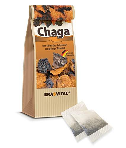 CHAGA NATUR-TEE 60 Teebeutel = 60 g OHNE TASSENREITER OHNE DEKOR Pilz aus Sibirien natürlich wild gesammelt Schonend getrocknet Roh & Vegan In Deutschland Laborgeprüft