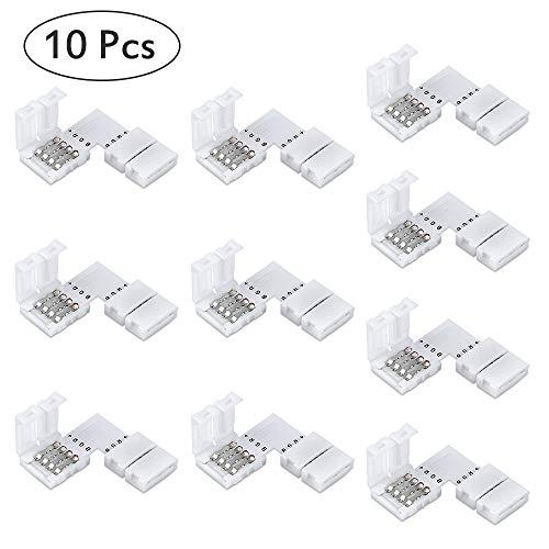 L Form LED RGB Eckverbinder 10 Stück, 4 polig 10mm LED Eckverbinder LED Strip Connector Steckverbinder L Verbinder Schnellverbinder Für SMD 5050 RGB LED Strip
