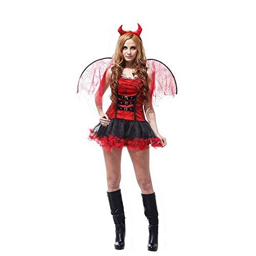 FKMYS Costume di Halloween, Costume da Donna, Diavolo Sexy, compresi Vestiti, Copricapo di Ali