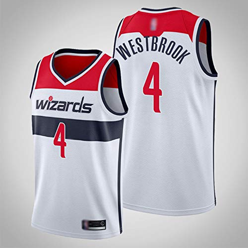 SHR-GCHAO Camiseta De Moda para Hombre, NBA Washington Wizards # 4 Russell Westbrook Camiseta De Baloncesto, Malla, Camisetas Sin Mangas Transpirables, Chalecos Deportivos Al Aire Libre,L(175~180CM)