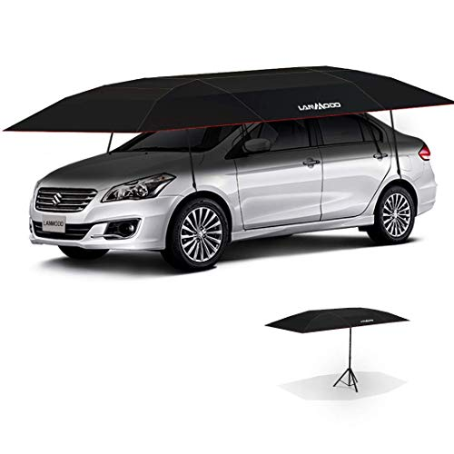 Lanmodo Pro 4-Season Wireless Automatic Car Tent Cover, Automatic Car Umbrella Tent Carport Canopy Beach Tent with Anti-UV, Waterproof, Windproof, Snowproof (4.8M Auto with Stand, Black)