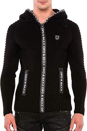 Cipo & Baxx Herren Strickjacke Cardigan Strickpullover Kapuzen Pullover Hoodie Sweater Pulli Schwarz M