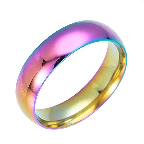 HSQYJ Anillos de boda de acero inoxidable clásicos de 6 mm con...