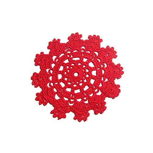 Sottobicchiere rosso rotondo all'uncinetto - Dimensione ø 13 cm - Handmade - ITALY