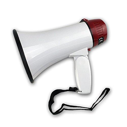 Rohs - Megáfono para Voz y Sirena Ole Song DC6 V en Color Rojo y Blanco - AI60401 - para Ocio, Fiestas, fútbol o Cualquier Otro Evento