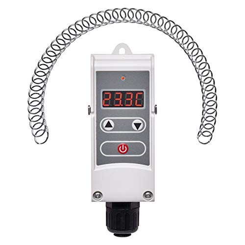 EMOS Anlegethermostat mit einstellbarer Schaltempfindlichkeit, Schraubenfeder und digitalem Display / Rohranlegethermostat Einstellbereich 5 °C bis 80 °C