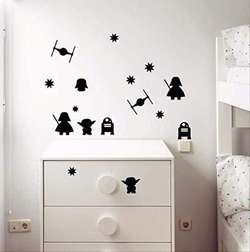 Pegatinas De Pared Dibujos Animados Star Wars Vinilo Estrella De La Muerte Darth Vader Robot Yoda Mural Art Vinyl Decal Para Niños Habitación Decoración Mural 58X20Cm