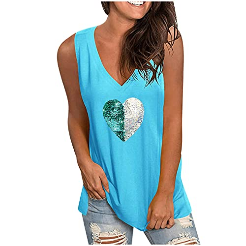Aullivillen Camisetas sin mangas para mujer, chaleco de verano, ajuste holgado, camisas largas, camisetas de moda, casual, con cuello en V, sin mangas, blusas para mujer, Mujer, azul celeste, M