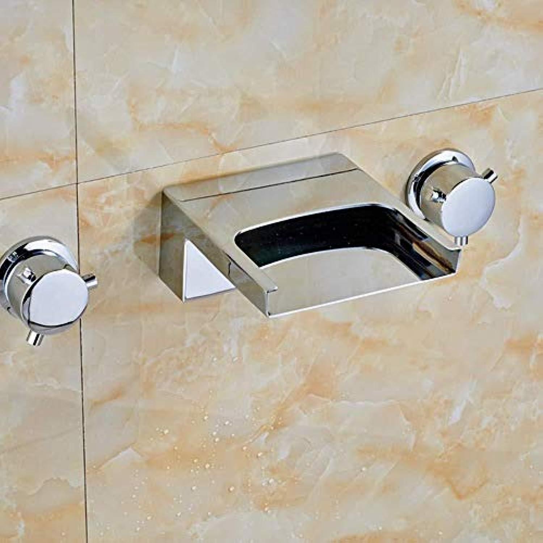 DOMOUDOKüchenarmaturen Waschtischarmaturen Chrom Messing Wasserfall Breiter Auslauf Bad Wasserhahn Wandmontage Wannenmischbatterie Neu