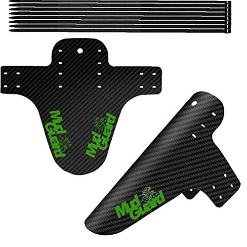 Lodo MTB Protección contra Salpicaduras de Bicicletas Guardabarros Guardabarros de Bicicletas Patrón Flaps Fibra de Carbono para el neumático de la Rueda del neumático Verde 2 Juegos