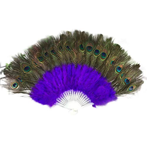 Abanico plegable de mano para boda, danza, elegante, grande, plumas, plegable, decoración...