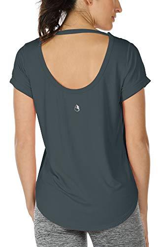 icyzone Damen Yoga T-Shirt Rückenfrei Sport Freizeit Tops Kurzarm Oberteile Loose Casual V-Ausschnitt Shirt (M, Dunkelgrau-grün)