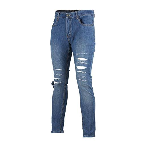 XPOSED New Mens Super Stretch Ripped Cut Jeans Skinny Slim Fit Distress Denim Regular Leg All Waist – 5 Colours [Waist 36
