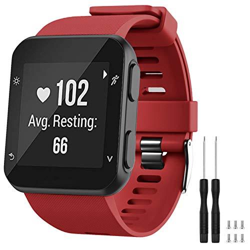 GVFM - Correa de repuesto compatible con Garmin Forerunner 35, de silicona suave para reloj inteligente, ajuste de muñeca de 130 a 230mm, Rojo oscuro (hebilla negra).