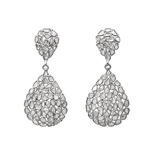 4.00 CTW Pendientes de diseñador con forma de pera polki de rebanada de diamante natural sin cortar - Plata de ley 925 chapada en platino, joyería de regalo del día de San Valentín