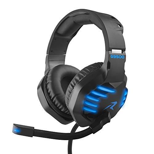 Redlemon Audífonos Gamer con Sonido HD 360° y Luz LED, Micrófono Flexible, Cable Auxiliar 3.5 mm, Control de Audio, Cable de Nylon Trenzado Ultra Resistente de 2m,...