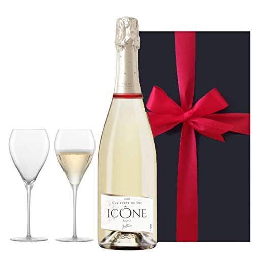 【お祝い】 誕生日 結婚祝い 結婚記念日 【ワインとグラスのギフトセット】フランス産 スパークリングワイン「ジャイアンス キュヴェ・イコン」750ml/ペア シャンパングラス 箱入り【ギフト】贈答用 贈り物 プレゼント