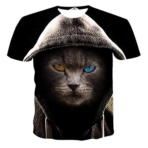 SSBZYES Camiseta para Hombre Camiseta De Gran Tamaño para Hombre Camiseta De Manga Corta para Hombre Cuello Redondo De Gran Tamaño Camiseta Suelta De Moda con Estampado De Gato Animal 3D para Hombre