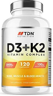 Vitamin D3 and Vitamin K2 - 3,000 IU D3 & Vitamin K2 100ug MK7 - 120 Vegetarian Capsules - UK Made Premium Quality - Vitamin D Supplement Source Cholecalciferol - Bone, Muscle, Blood & Immune Support For Men & Women