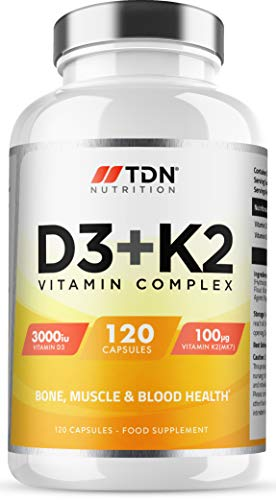 Vitamin D3 3,000 IU & Vitamin K2 100ug (MK7) - Vitamin D3 K2-120 Vegetarian Capsules - UK Made Premium Quality - Vitamin D Supplement - Bone, Muscle, Blood & Immune Support for Men & Women