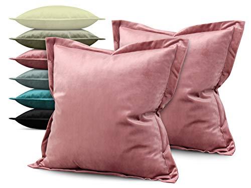 npluseins Doppelpack - Kira Samtkissenhülle - mit Stehsaum und Changiereffekt - Moderne Wohndekoration in dezentem Design - erhältlich in 6 Farben und 3 Größen, 40 x 40 x 2 cm, Altrosa