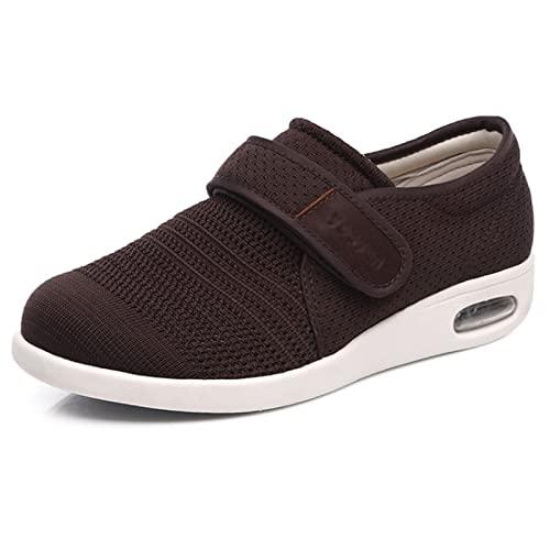 Zapatos de edema para mujer, de ajuste ancho, antideslizantes, resistentes al desgaste, edema botas para pies hinchados, fascitis plantar diabética, Brown, 47 EU