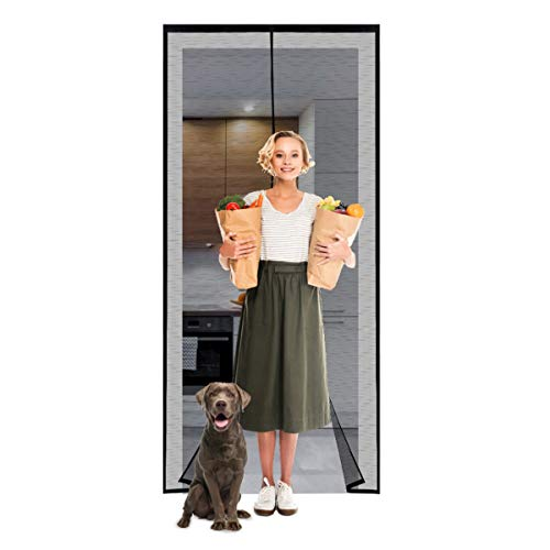 Magnetic Screen Door 36×83 Reinforced Fiberglass Mesh Curtain Front Door Screen with Heavy Duty Mesh Curtain and Full Frame Hook&Loop,- Fits Door Size up to 36×83 Inch