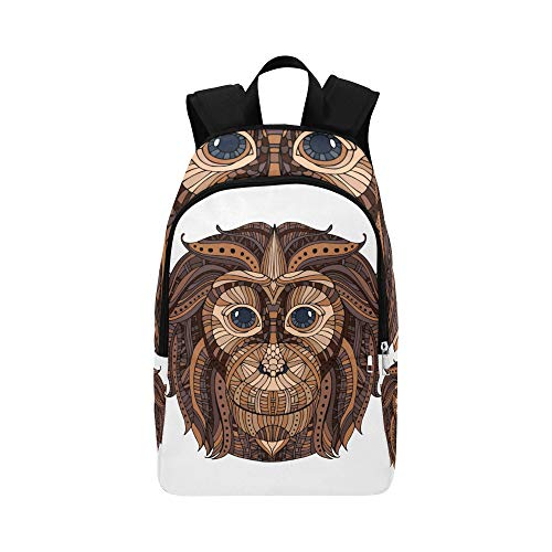 WJJSXKA Sports Cooler Bag Tribal Ethnic Monkey King Animal Durable Water Resistant Classic Womens Daypack Backpack Best Backpack Light Daypack Backpack College Bag for Women