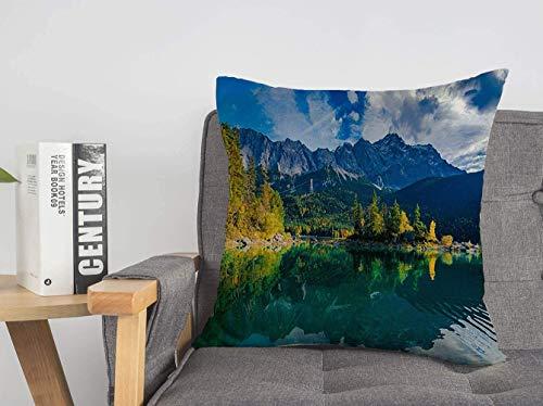 LREFON Doble Cojines Fundas 18' Zugspitze Espléndido Verde Azul Increíble Hermosa Vista Eibsee Alemania Sol Parques Naturales Funda Almohada Suave