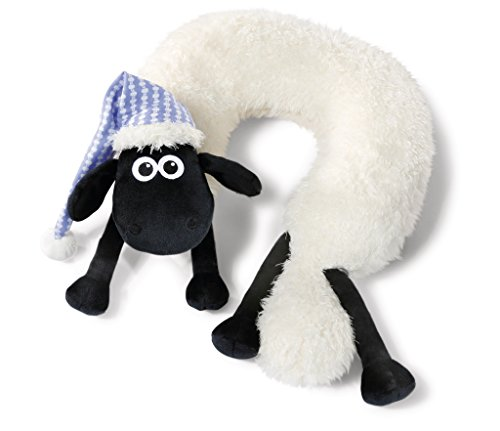 NICI 41477 Shaun das Schaf Nackenkissen mit Schlafmütze, 26 x 12 x 9 cm, Farbe: Weiß/Schwarz