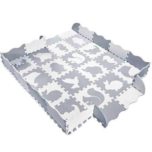 Baby Play Mat with Fence, Animals, and Foam Tiles. Tummy time mat, Playmat for Kids, Toddlers, Infants. Activity Center, Ball Pit Gym Floor playpen. 57