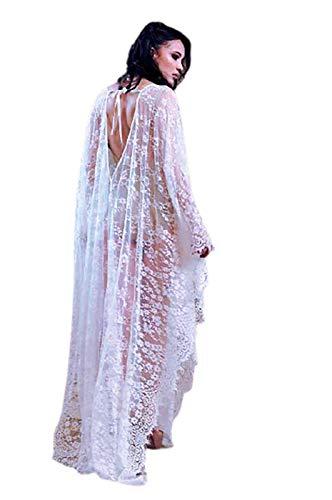 GW Vestido De Gran Tamaño con Encaje Suelto, Falda Larga, Ropa De Playa para Vacaciones, Blusa, Vestido para Mujer Vestido De Noche Largo Falda Larga De Malla,Blanco,One Size