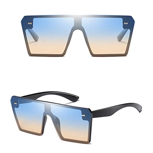 Zolimx- Occhiali da Sole da Donna Quadrati per Occhiali Personalizzate Tendenza Strani Donna Uomo Steampunk Occhiali Unisex Vintage Fiamma Specchio Strani Retro Protezione UV400 Eyewear Bicchieri
