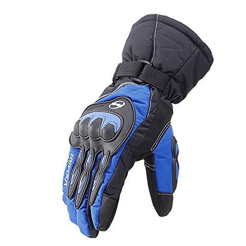 Memteor Guantes de equitación en Clima frío para Hombre de la Motocicleta, Caliente Impermeable Anti-Fall Off-Road Guantes Engrosamiento de la Motocicleta,Azul,XL