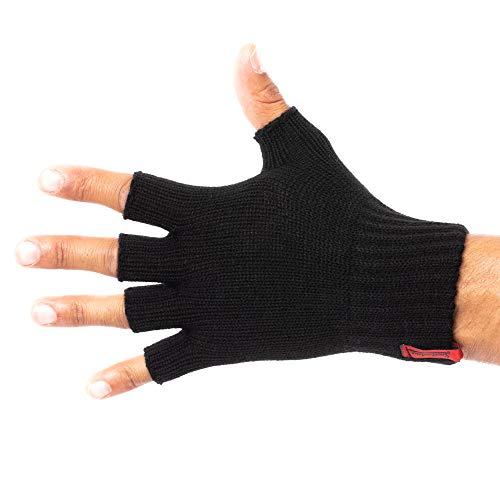 SMILODOX Fingerlose Handschuhe | Praktische Winterhandschuhe aus Strick | Angenehm weich und flauschig für Alltag & Freizeit | Unisex & One-Size, Farbe:Schwarz